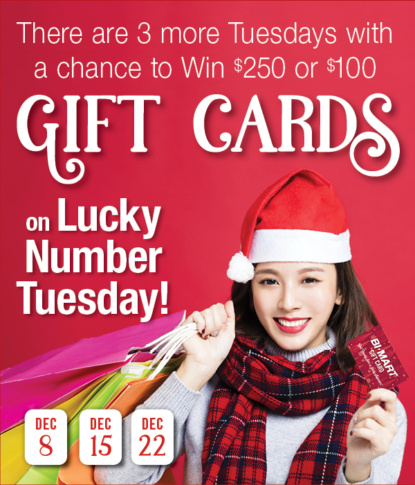 Only 3 Lucky Number Tuesdays left for a chance to win $250 or $100 Bi-Mart gift cards!