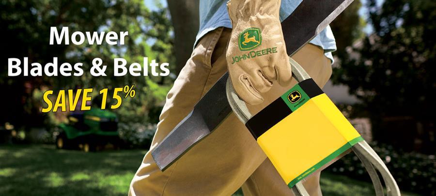 Save 15% on John Deere Blades & Belts