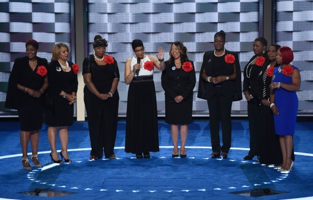 The mothers of black men and women who have died in gun violence or encounters with police tearfully called on voters to support Clinton.