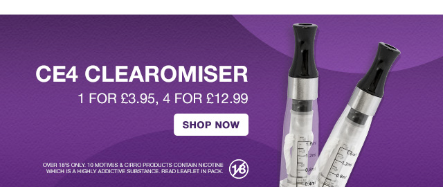 CE4 Clearomisers - 1 for £3.95, 4 for £12.99